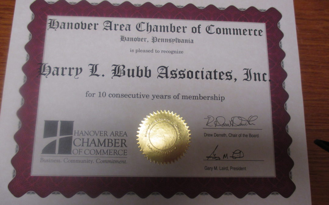 Hanover Chamber Member 10 Years