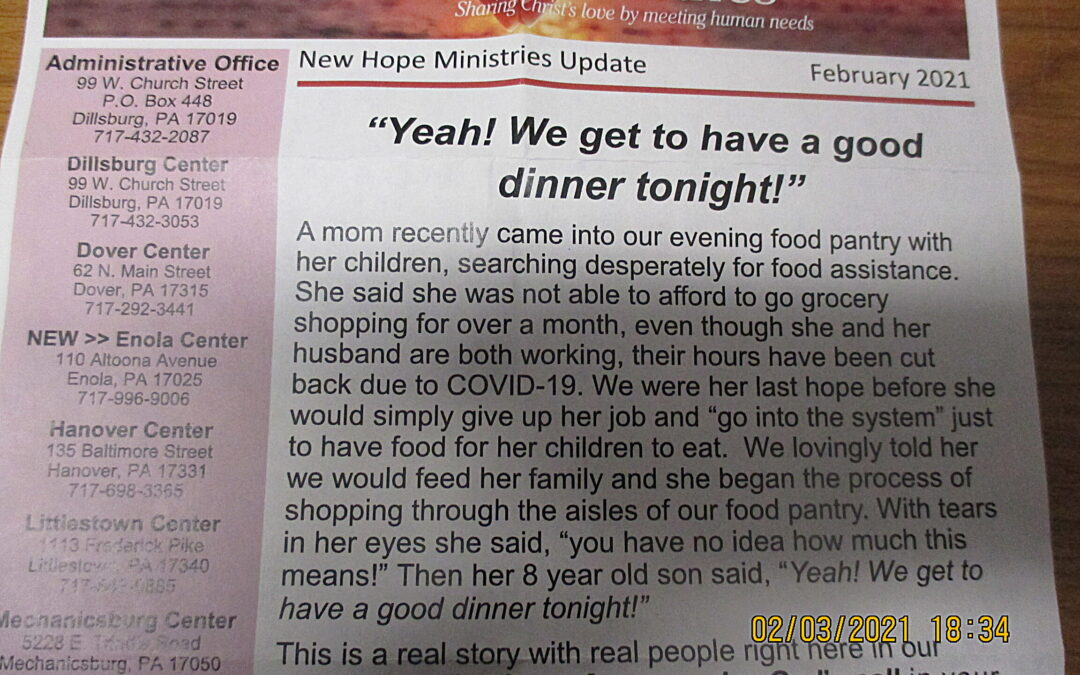 Heartwarming from New Hope Ministries